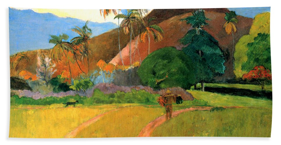 Eugene Henri Paul Gauguin Beach Sheet Featuring The Digital Art Tahitian Mountains By