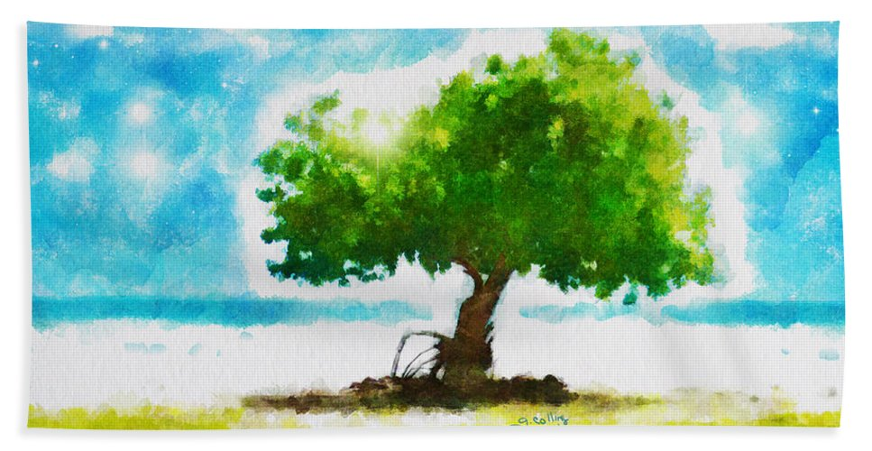 Tree Beach Towel featuring the painting Summer Magic by Greg Collins