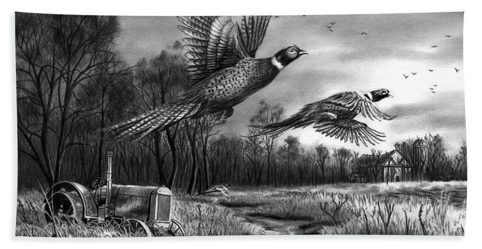 Taking Flight Beach Towel featuring the drawing Taking Flight by Peter Piatt