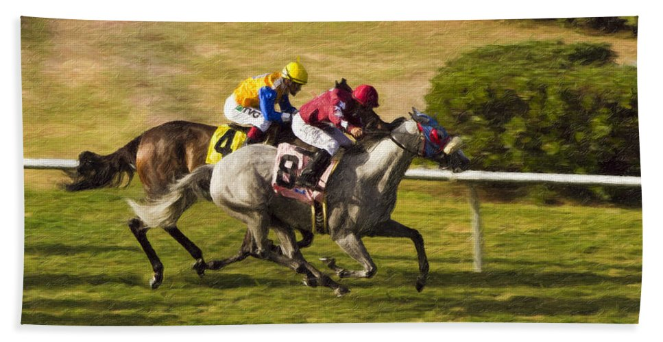 Del Mar Beach Towel featuring the painting Taking Over - Del Mar Horse Race by Angela Stanton