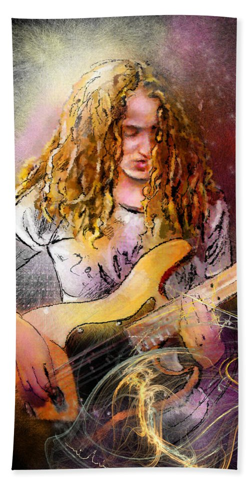 Music Beach Towel featuring the painting Tal Wilkenfeld by Miki De Goodaboom