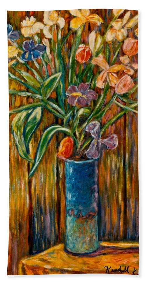 Vase Of Flowers Beach Towel featuring the painting Tall Blue Vase by Kendall Kessler