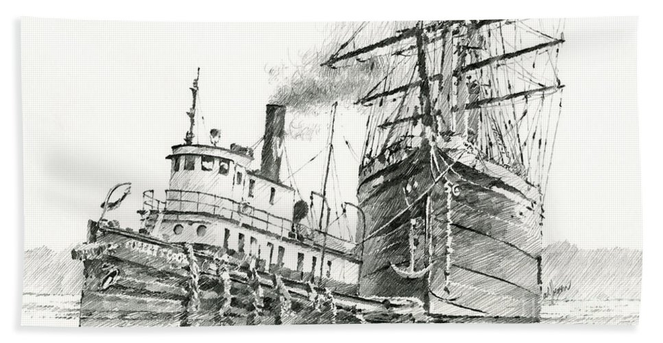 Tug Print Beach Towel featuring the painting Tall Ship Assist by James Williamson