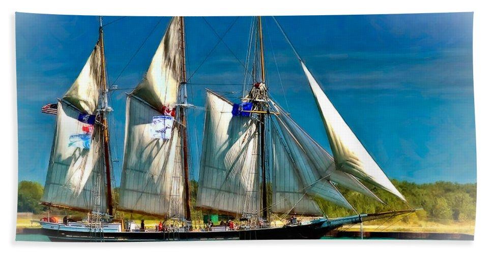 Tall Ship Beach Towel featuring the photograph Tall Ship Vignette by Steve Harrington