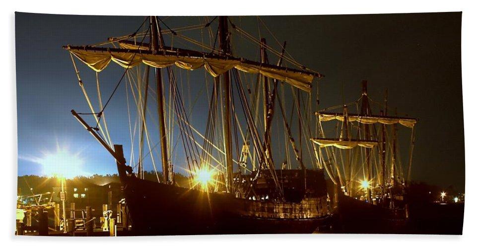 Nina Beach Towel featuring the photograph Tall Ships by Debra Forand