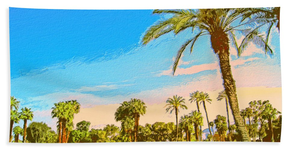 Golf Beach Towel featuring the painting Tamarisk Morning by Dominic Piperata