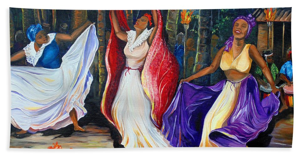 Caribbean Dance Beach Towel featuring the painting Tamboulay by Karin Dawn Kelshall- Best