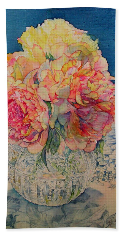 Floral Beach Towel featuring the painting Tammy's Bowl 2 by Annika Farmer