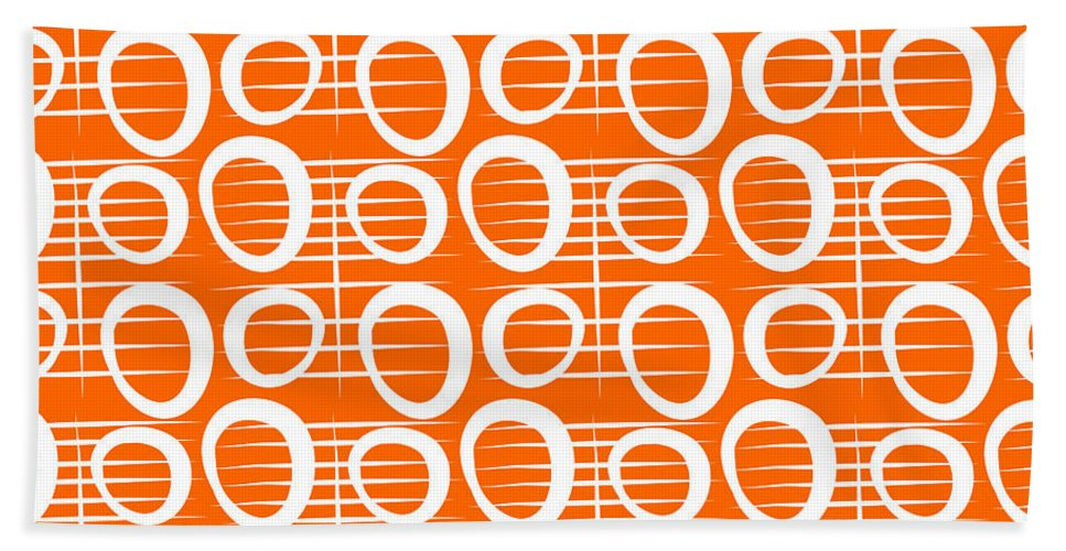 Abstract Beach Towel featuring the painting Tangerine Loop by Linda Woods