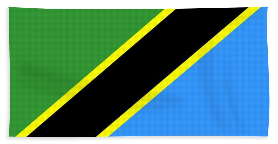Tanzania Beach Towel featuring the digital art Tanzania Flag by Frederick Holiday