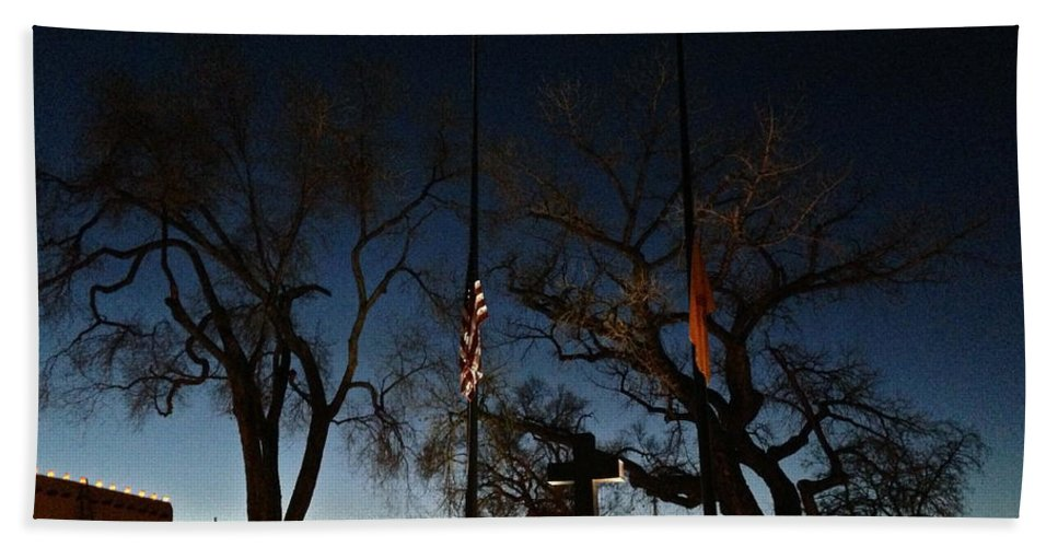 Taos Beach Towel featuring the photograph Taos At Night by LeLa Becker