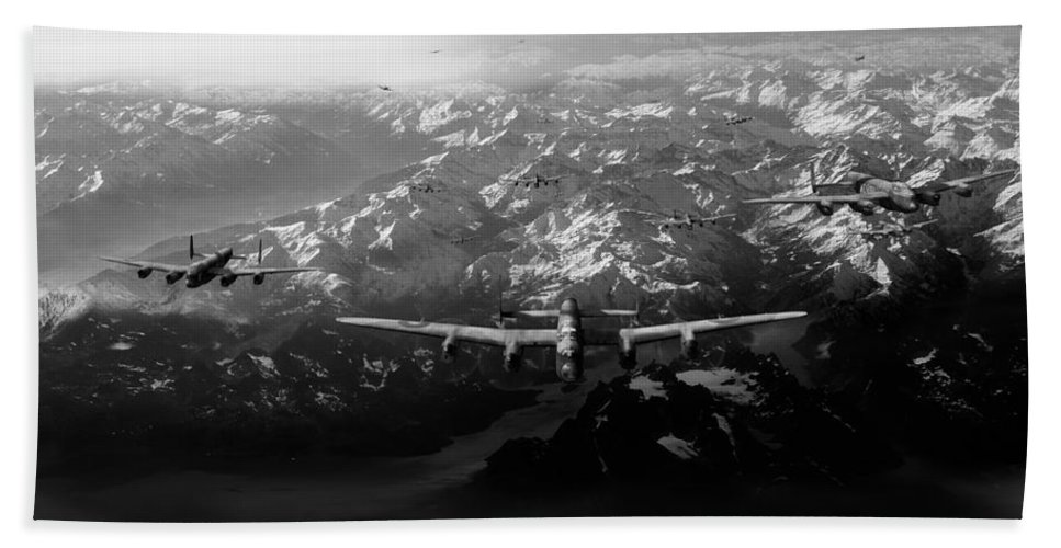 Tirpitz Sinking Beach Towel featuring the digital art Target Tirpitz In Sight Black And White Version by Gary Eason