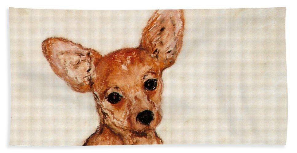 Chihuahua Beach Towel featuring the drawing Tavi by Cori Solomon