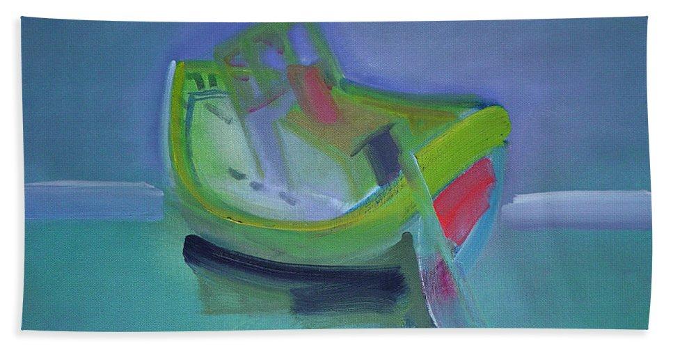 Tavira Beach Towel featuring the painting Tavira Fishing Boat Abandoned by Charles Stuart