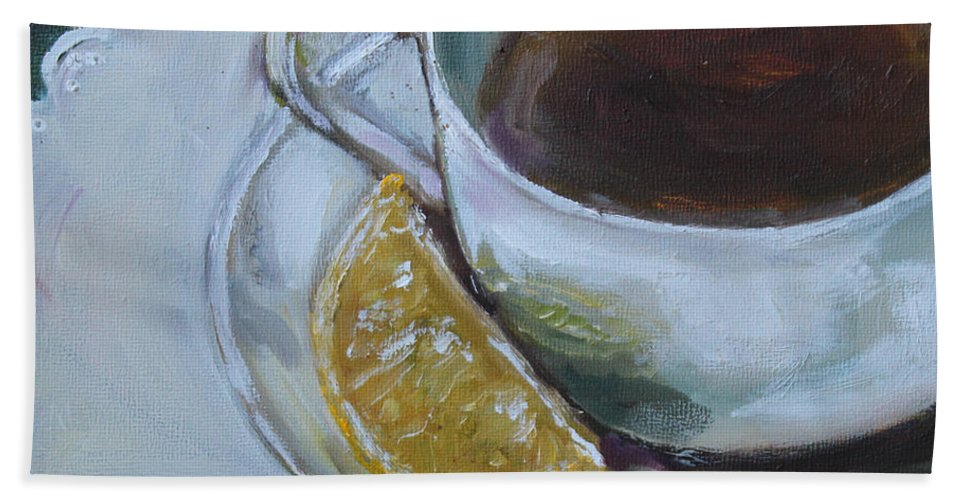 Tea Beach Towel featuring the painting Tea And Lemon by Kristine Kainer