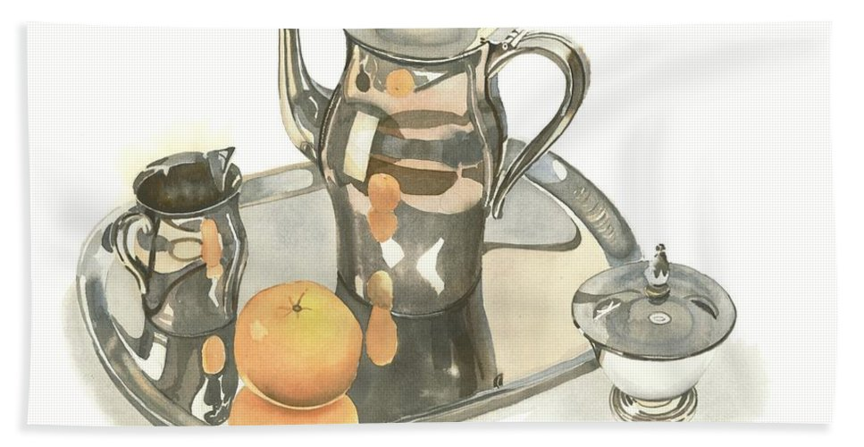 Tea Service With Orange Beach Sheet featuring the painting Tea Service With Orange by Kip DeVore