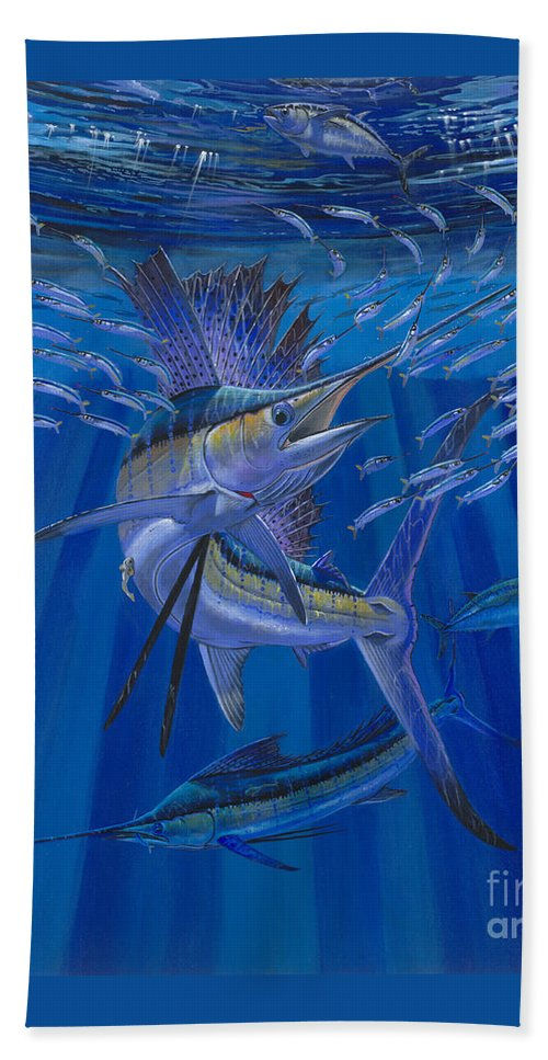 Sailfish Beach Towel featuring the painting Team Work Off0036 by Carey Chen