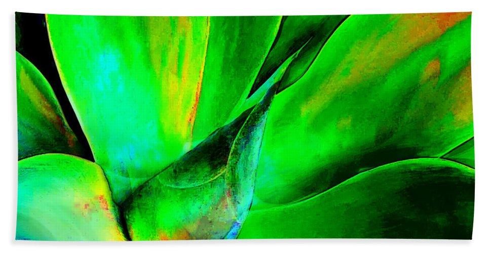 Cactus Beach Towel featuring the painting Technicolor Succulent by Elaine Plesser