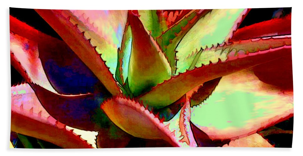 Cactus Beach Towel featuring the painting Technicolored Agave Succulent by Elaine Plesser