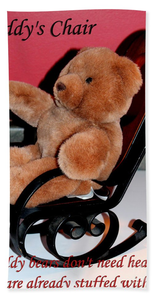 Teddy Bear Beach Towel featuring the photograph Teddy's Chair - Toy - Children by Barbara Griffin