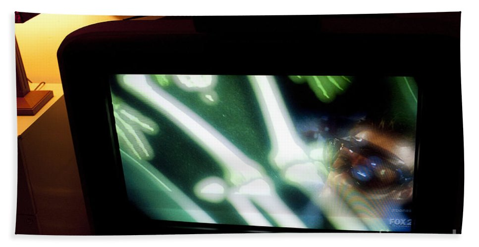 Tv Beach Towel featuring the photograph Television And Light by Steven Dunn