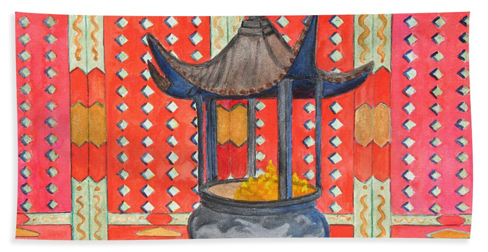 China Beach Towel featuring the painting Temple Offerings by Patricia Beebe