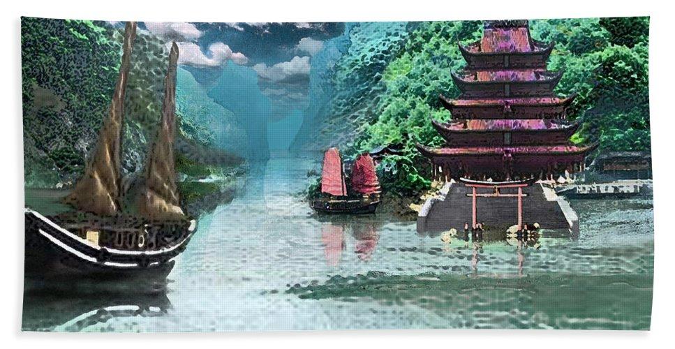 Landscape Beach Towel featuring the digital art Temple on the Yangzte by Steve Karol