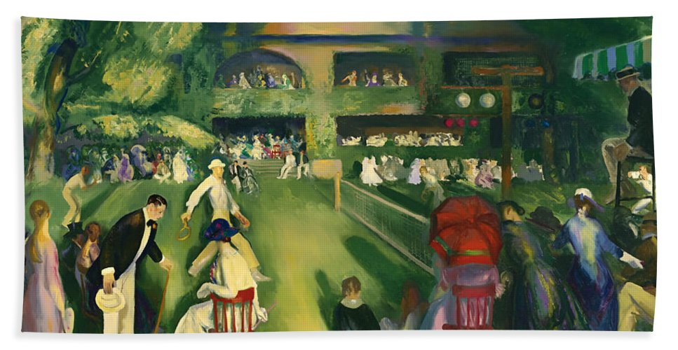 Newport Beach Towel featuring the painting Tennis At Newport 1920 by Mountain Dreams