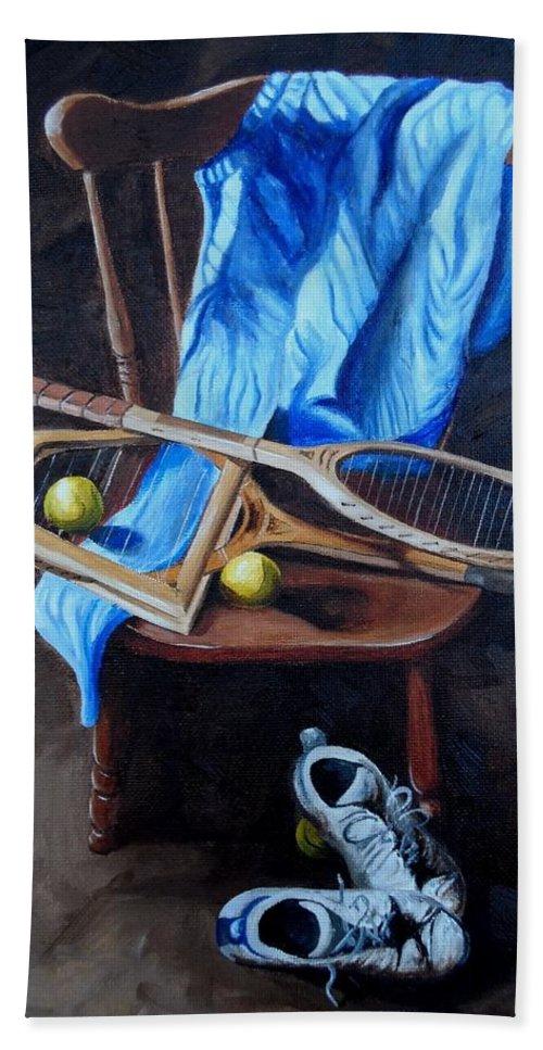Still Life Beach Towel featuring the painting Tennis Still Life by Logan Cobb