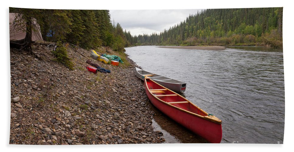 Activity Beach Towel featuring the photograph Tents And Canoes At Mcquesten River Yukon Canada by Stephan Pietzko