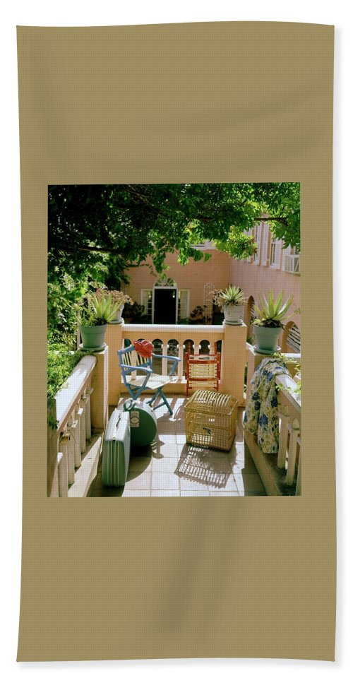 Furniture Beach Towel featuring the photograph Terrace At A Guest House At Waterloo by Tom Leonard