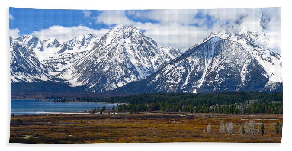 Tetons Beach Towel featuring the photograph Teton Panorama I Center Panel by Greg Norrell