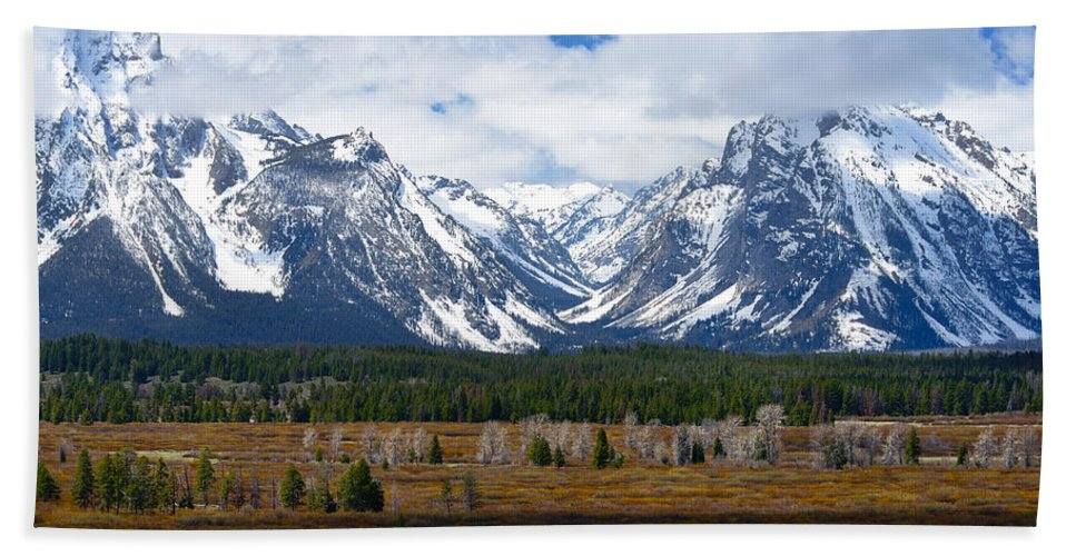 Tetons Beach Towel featuring the photograph Teton Panorama I Right Panel by Greg Norrell
