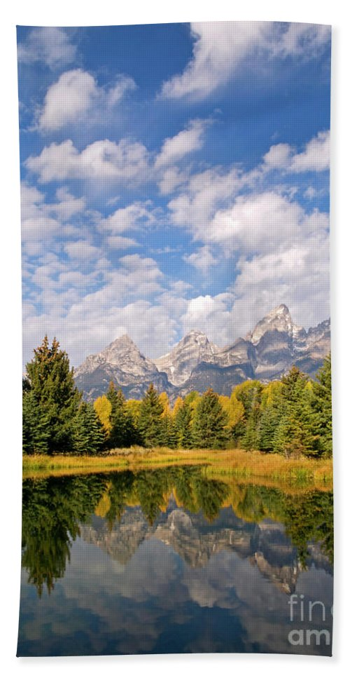 Landscape Beach Towel featuring the photograph Teton Reflections by Alex Cassels