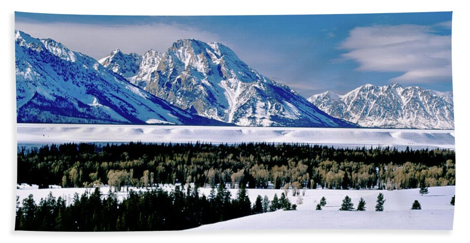 National Park Beach Towel featuring the photograph Teton Valley Winter Grand Teton National Park by Ed Riche