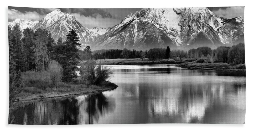 Tetons In Black And White Beach Towel featuring the photograph Tetons In Black And White by Dan Sproul