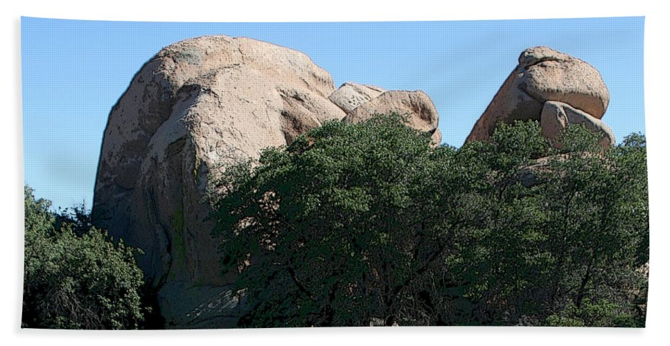 Texas Canyon Beach Towel featuring the photograph Texas Canyon Megaliths by Joe Kozlowski