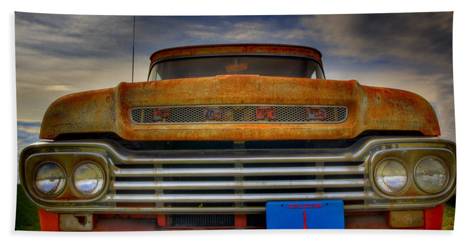 F-100 Ford Truck Beach Sheet featuring the photograph Textured Ford Truck 1 by Thomas Young