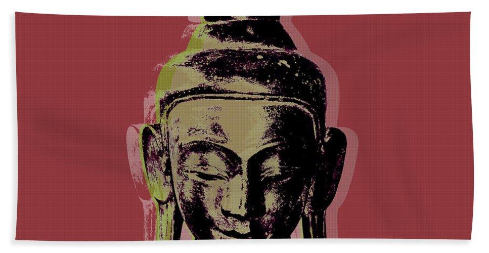 Pop Art Beach Towel featuring the digital art Thai Buddha #1 by Jean luc Comperat