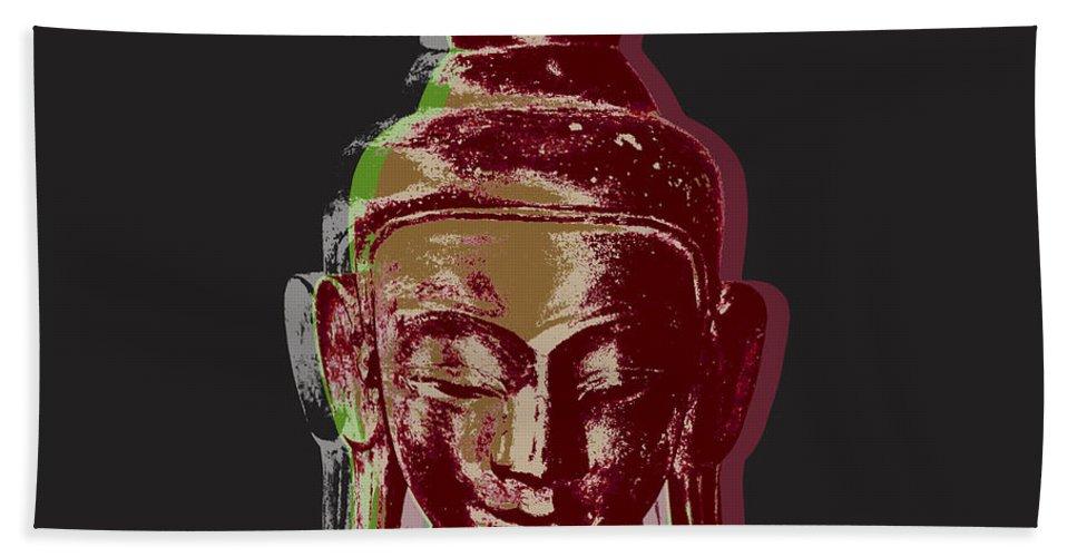 Pop Art Beach Towel featuring the digital art Thai Buddha #3 by Jean luc Comperat