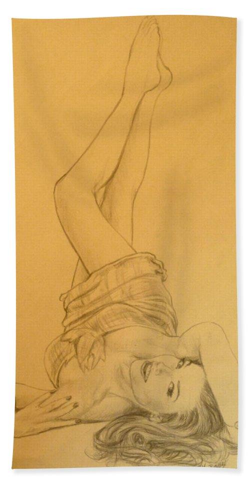 Singer Beach Towel featuring the drawing Thalia Sodi by Bryan Bustard