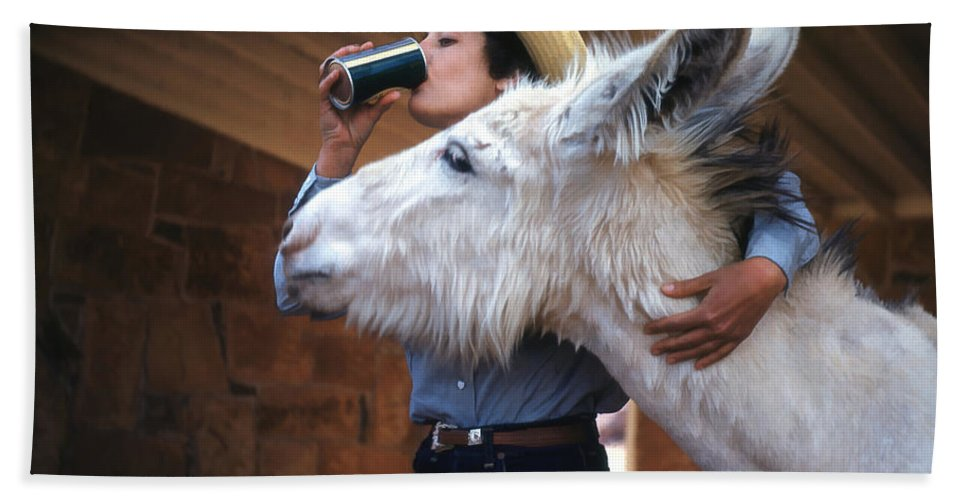Donkey Helping Girl Drink Coke. Beach Towel featuring the digital art That's My Drink by Cathy Anderson