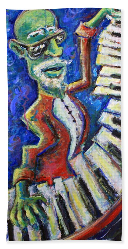 New Orleans Beach Towel featuring the painting The Acid Jazz Jam Piano by Jason Gluskin