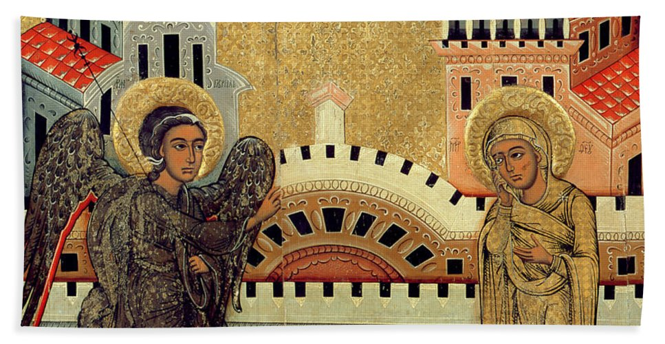 Virgin Mary; Madonna; Archangel Gabriel; Announcing; Russian Icon; Stylised; Gold Leaf; Byzantine Beach Towel featuring the painting The Annunciation by Fedusko of Sambor