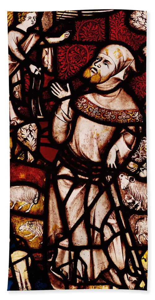 Stained Glass Beach Towel featuring the photograph The Annunciation To Joachim by English School