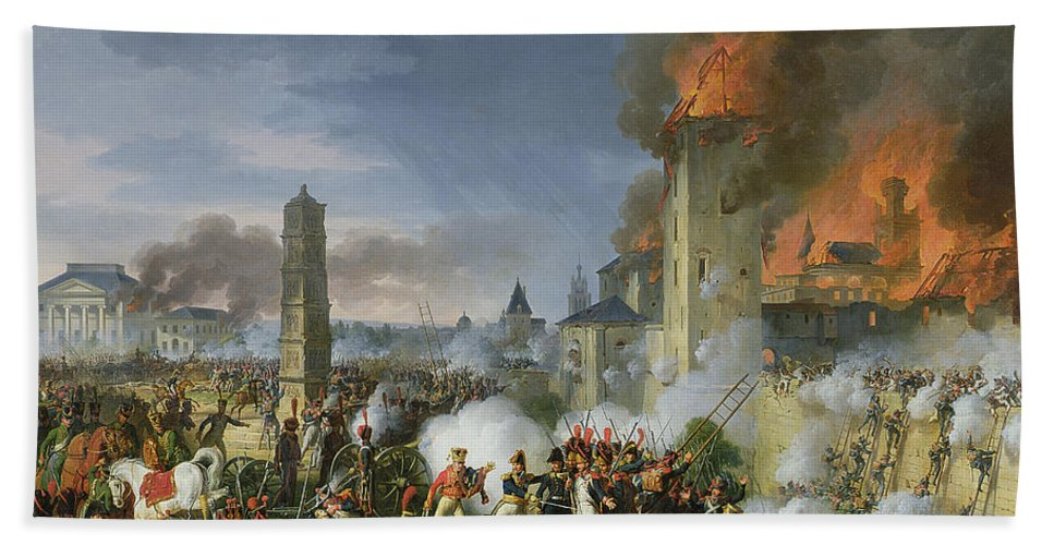 Ladders Beach Towel featuring the photograph The Attack And Taking Of Ratisbon, 23rd April 1809, 1810 Oil On Canvas by Charles Thevenin
