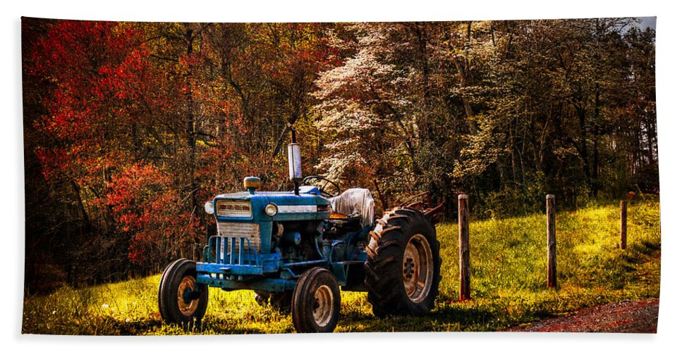 Appalachia Beach Towel featuring the photograph The Autumn Blues by Debra and Dave Vanderlaan