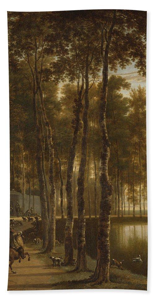 Jan Hackaert Beach Towel featuring the painting The Avenue Of Birches by Jan Hackaert