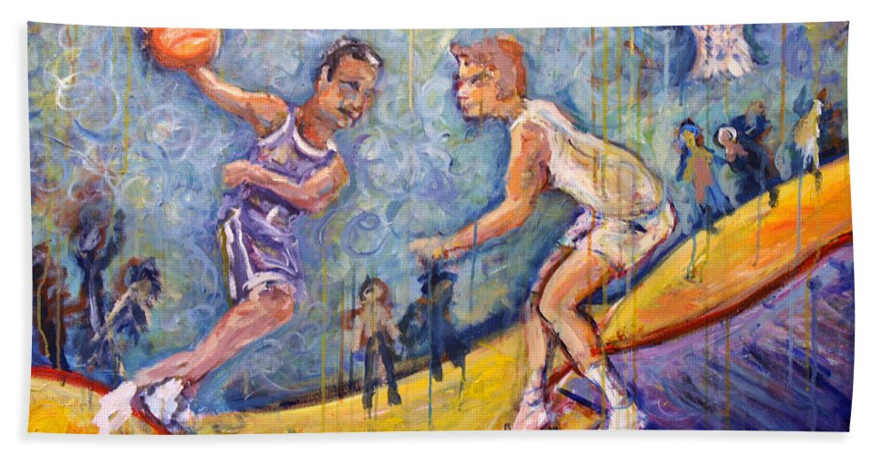 Basketball Beach Towel featuring the painting The B-ball Game by Jason Gluskin