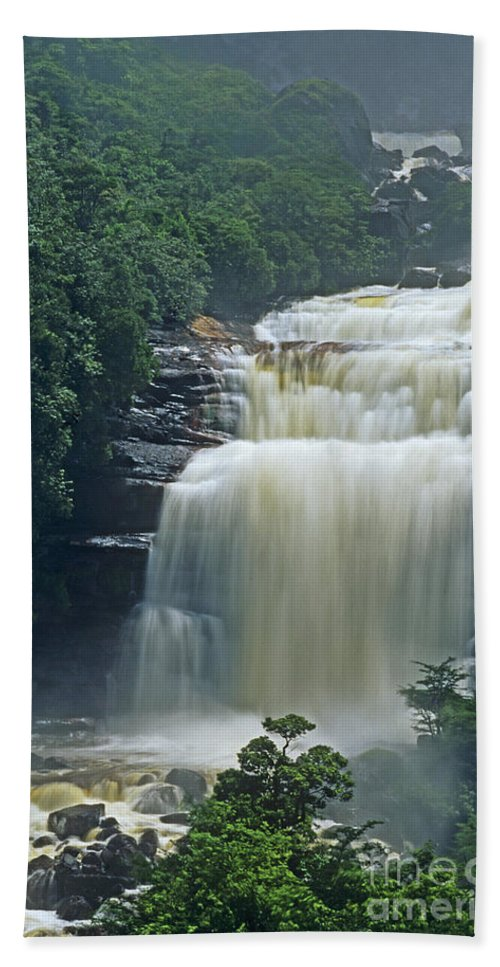Venezuela Beach Towel featuring the photograph The Base Of Angel Falls In Canaima National Park Venezuela by Dave Welling